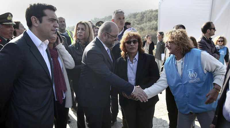 "October 30, 2015: The German President of the European Parliament Martin Schulz, accompanied by Greek Prime Minister Alexis Tsipras, visits the Greek island of Lesvos and the newly created hotspot at Morian. During the visit Schulz stated that he hopes ""the Greek authorities here speed up as we need the hotspot as soon as possible [and] in an enlarged way."" (European Parliament Audiovisual Services for Media)"