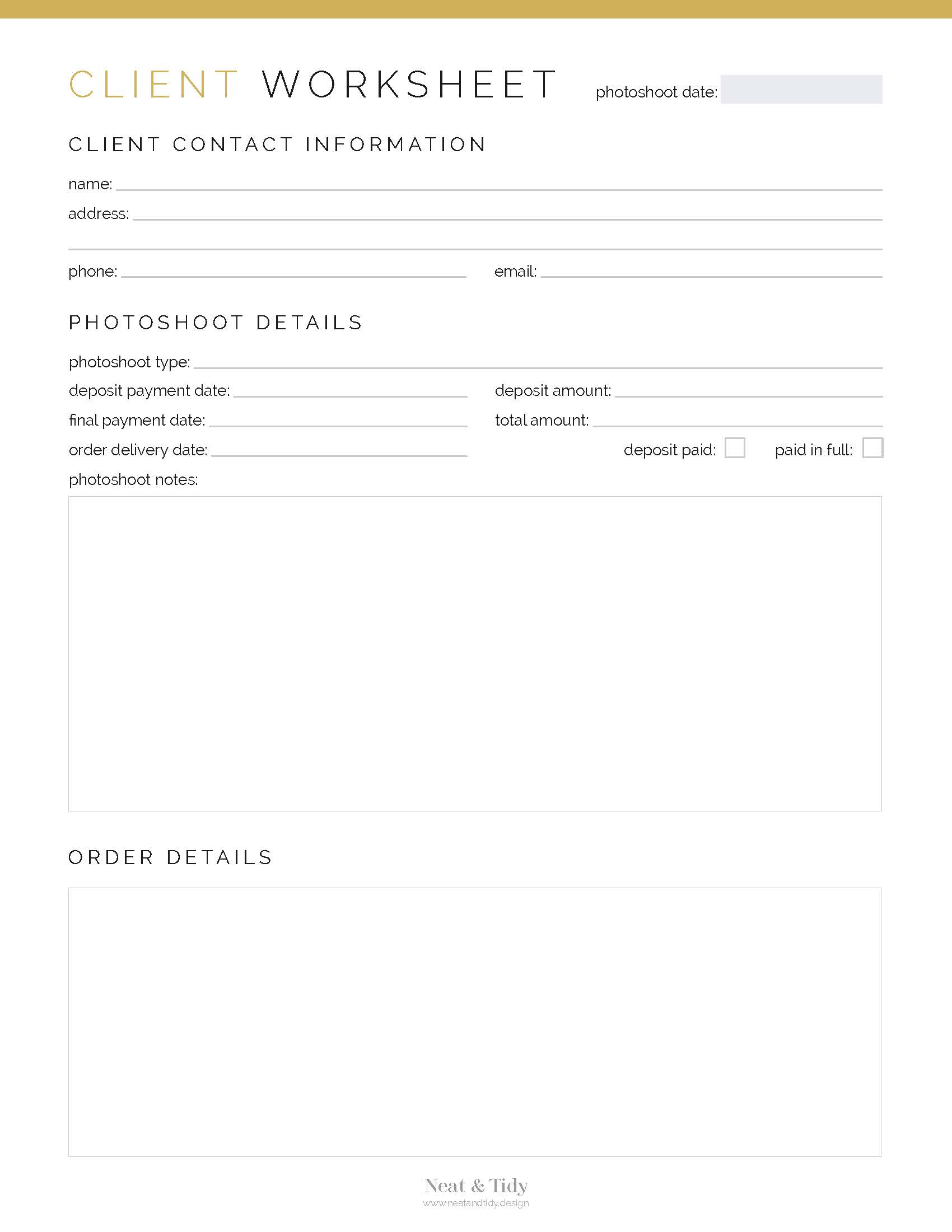 Client Worksheet Photography