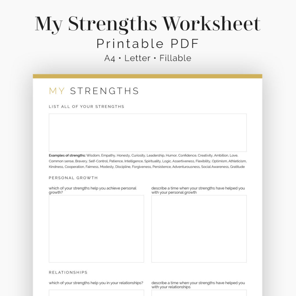 My Strengths Worksheet