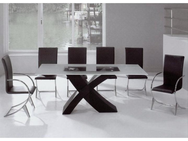 K&B Furniture White Wood Modern Dining Table