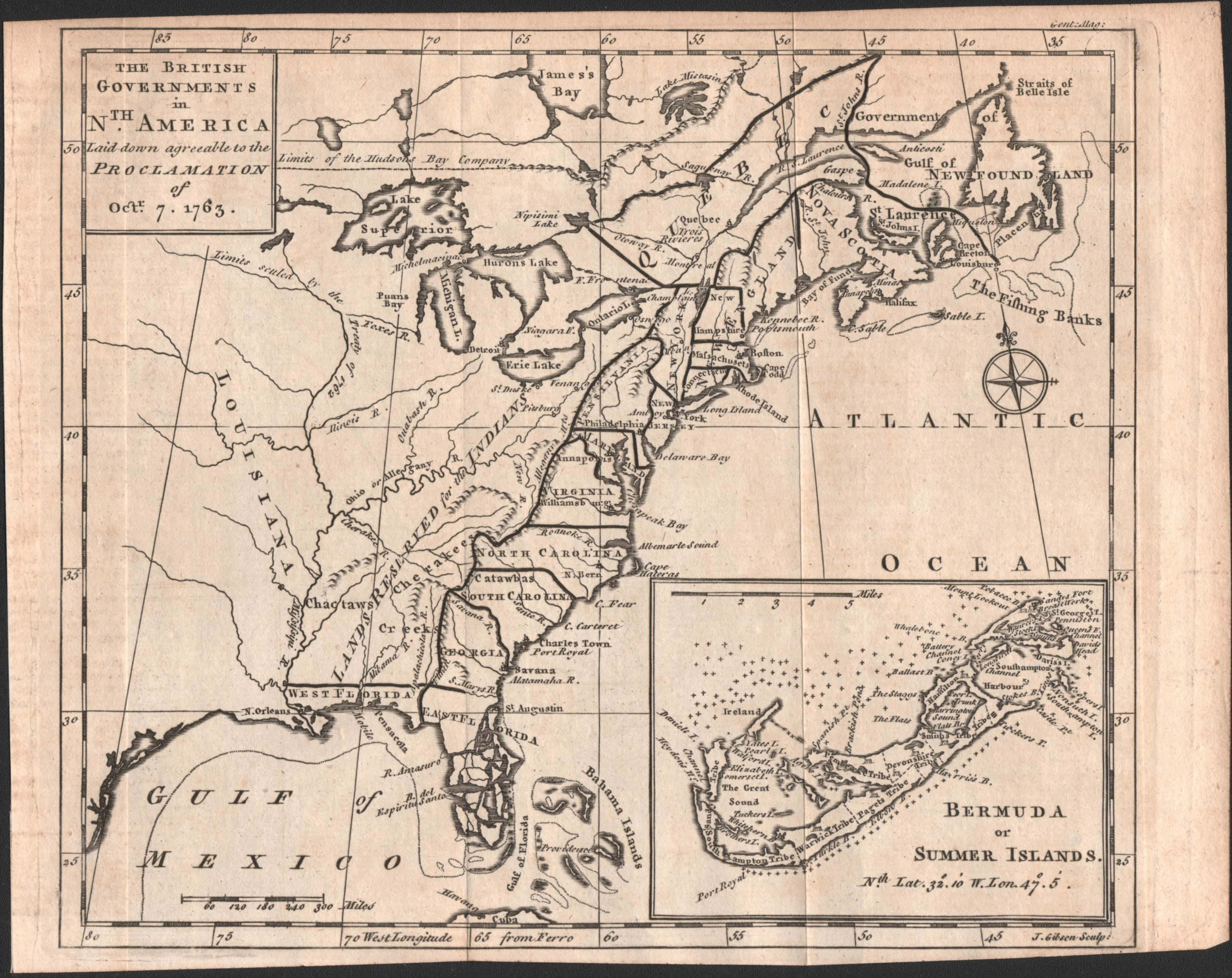 Rare Map Of The British Governments In Nth America Laid