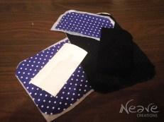 Wybór materiałów, szablon telefonu oraz podklejanie bawełny flizeliną @ NeaveCreations 2016
