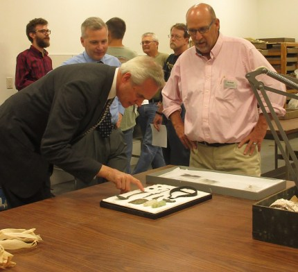 NSHS Archeology Open House - Lt. Governor Mike Foley, NSHS CEO Trevor Jones, and Archeologist Rob Bozell