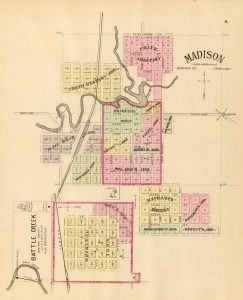 1885 Map of Madison and Battle Creek Nebraska