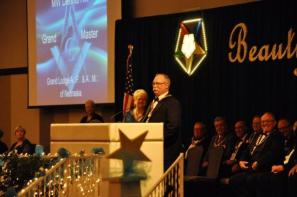 Most Worshipful Grand Master Dennis Rix brings greetings to the informal opening of the Grand Session of the Order of the Eastern Star in Nebraska, May 10, 2016 in Kearney.