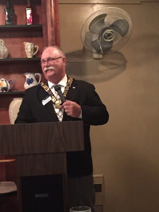 Grand Master Dennis Rix speaks at the celebration.