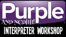 Purple Logo with NCDHH and Interpreter Workshop underneath