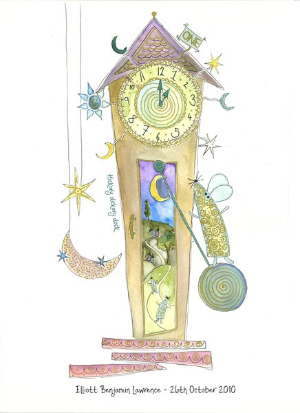 Hickory Dickory Dock Illustrated Print Keep Sake Gifts