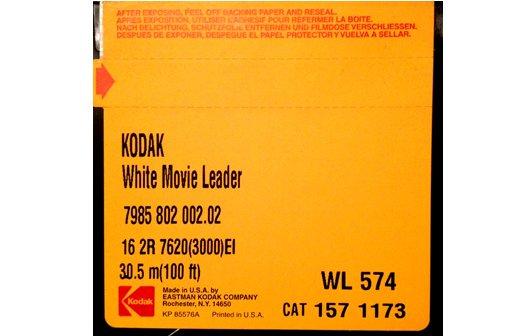 Kodak White Acetate Movie Leader - 16mm Double Perf. 100ft ...