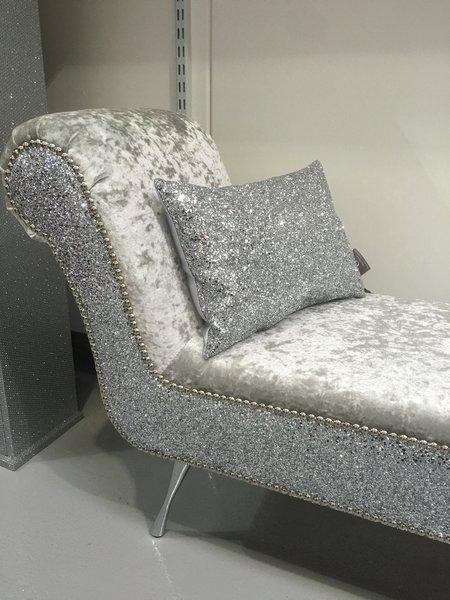Crushed Velvet Chaise Sofa