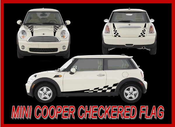 MINI COOPER CHECKERED FLAG FACTORY STRIPE GRAPHIC DECAL KIT 3M Factorystripe
