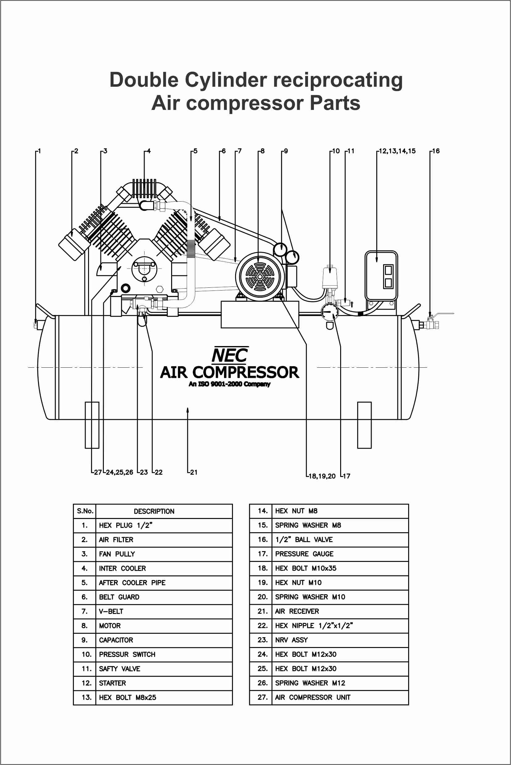 Reciprocating Air Compressor Part Diagram