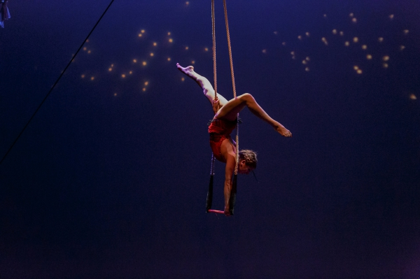 photo of a woman doing a handstand on a dance trapeze