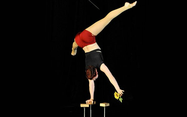 photo of rachel hipzer, flying trapeze and handbalancing coach