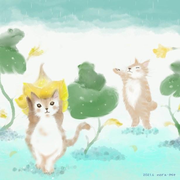 猫イラスト 梅雨