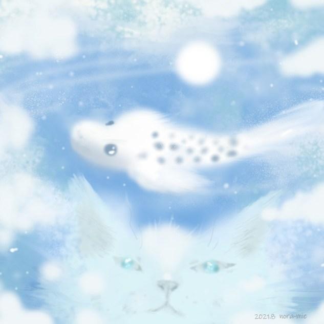 猫 illustration 夏