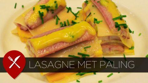 lasagne met courgette, paling en kerriesaus