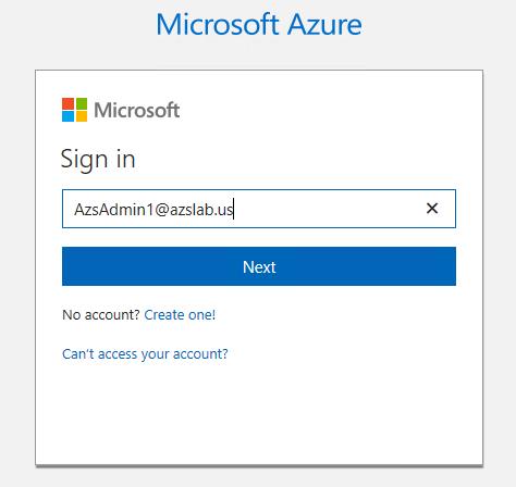 Azure Stack Admin Login