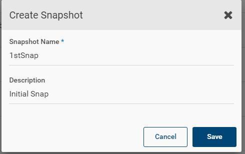 Machine generated alternative text: Create Snapshot