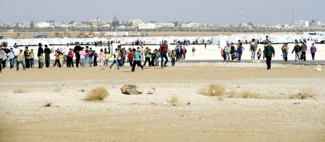 Scene fra den FN-drevne flyktingleiren Za'atri i Jordan. Fotograf: Mark Garten/FN