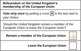 UK EU referendum ballot. Tampered with by blogger. Incidentally, please use a cross, NOT a thumbs up emoji!
