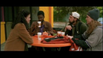 Linda Fiorentino, Chris Rock, Kevin Smith and Jason Mewes from Dogma