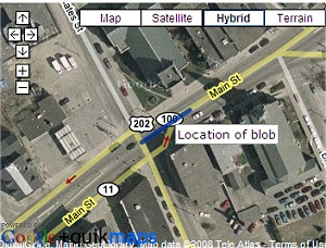 The location of The Blob in Lewiston, Maine on Google Maps