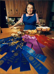 Marjorie Johnson with some of her ribbons