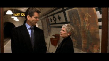 Pierce Brosnan as James Bond and Judi Dench as M from Die Another Day