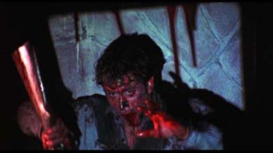 Bruce Campbell as Ash tormented in Evil Dead