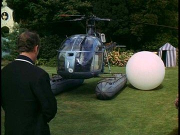 Patrick McGoohan and Rover from The Prisoner