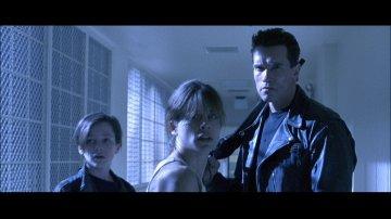 Edward Furlong, Linda Hamilton and Arnold Schwarzenegger from Terminator 2