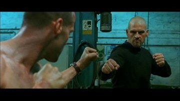 Jason Statham about to deploy some fisticuffs in The Transporter