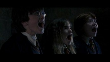 Harry, Hermione and Ron screaming from Harry Potter and the Sorcerer's Stone