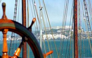 San Francisco - Alcatraz & Hyde Street Piers Balclutha Ship Wheel