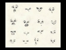 Facial expressions sheet for Boo from Monsters Inc.