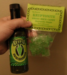 Krypto Hot Sauce and Kryptonite Rock Candy from Metropolis, Illinois