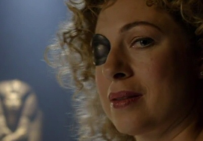 River Song with eyepatch from the Doctor Who fall trailer