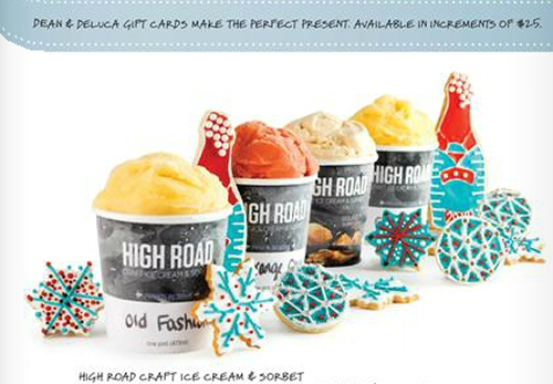 High Road Craft Ice Cream on the back of the Dean and DeLuca catalog