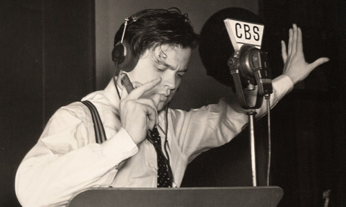 Orson Welles and mic