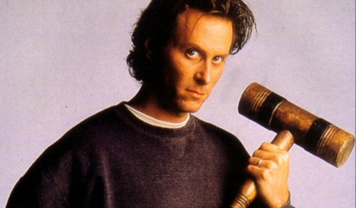 Steven Weber and croquet mallet from The Shining miniseries