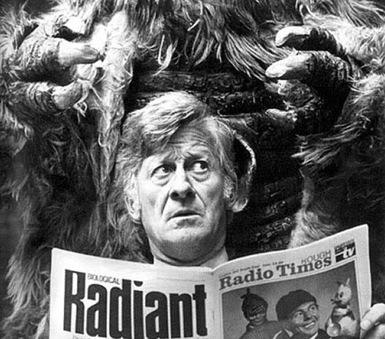 Jon Pertwee being menaced