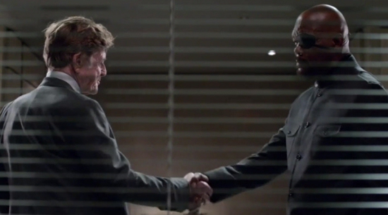 Robert Redford as Alexander Pierce and Samuel L. Jackson as Nick Fury in Captain America: The Winter Soldier