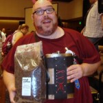 Mighty Bill with five pounds of coffee and six pounds of flask