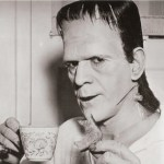 Karloff as Frankenstein with tea and toast