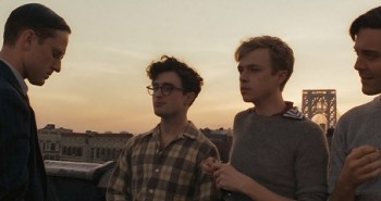 Ben Foster as William S. Burroughs, Daniel Radcliffe as Allen Ginsberg, Dane DeHaan as Lucien Carr and Jack Huston as Jack Kerouac in Kill Your Darlings