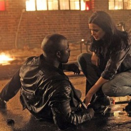 Mike Colter as Luke Cage and Krysten Ritter as Jessica Jones