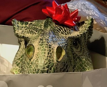 T. rex hiding in a gift bag
