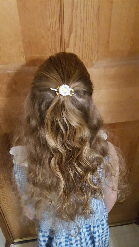 girl with curly hair wearing a Lilla Rose Flower Flexi Clip in her hair