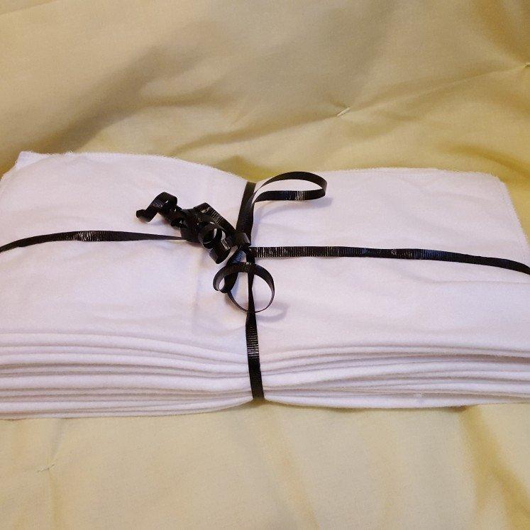 For Sale on Etsy / White Unpaper Towels / Reusable Cleaning Cloths / Cotton Flannel Unpaper Towels